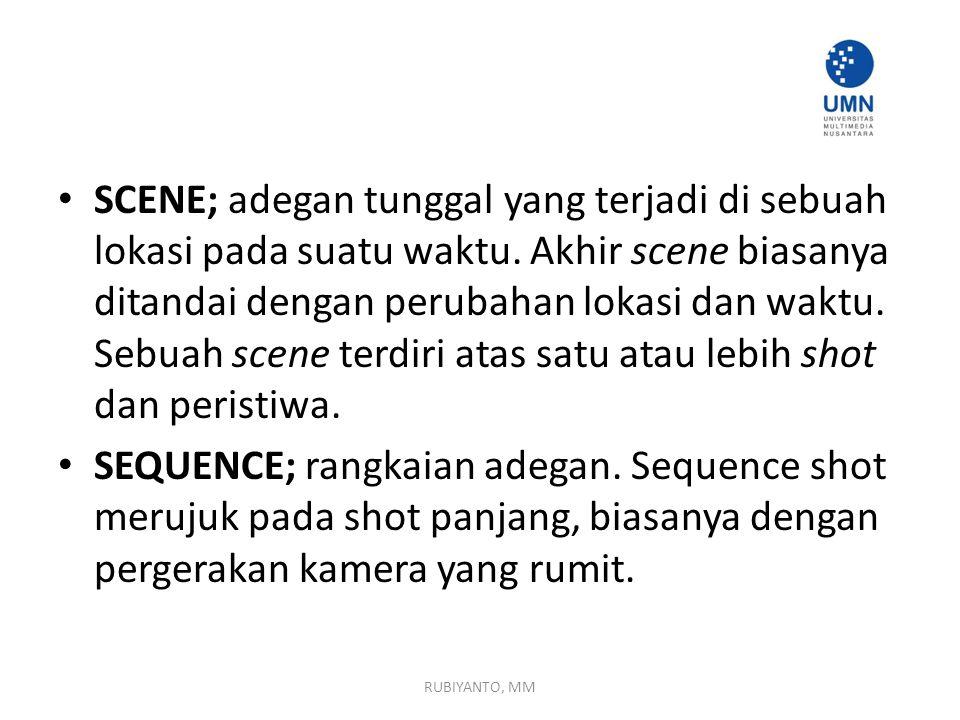 SCENE; adegan tunggal yang terjadi di sebuah lokasi pada suatu waktu