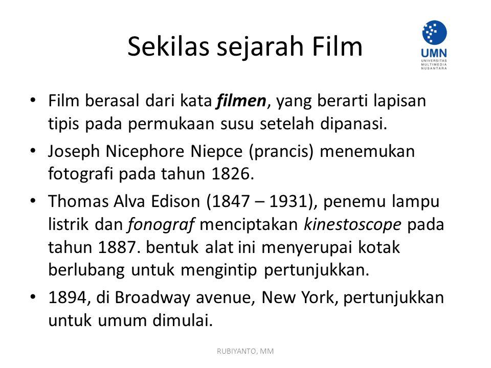 Sekilas sejarah Film Film berasal dari kata filmen, yang berarti lapisan tipis pada permukaan susu setelah dipanasi.