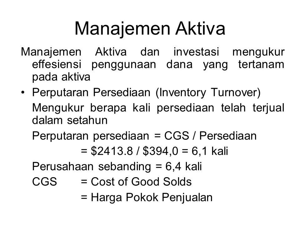 Manajemen Aktiva Manajemen Aktiva dan investasi mengukur effesiensi penggunaan dana yang tertanam pada aktiva.