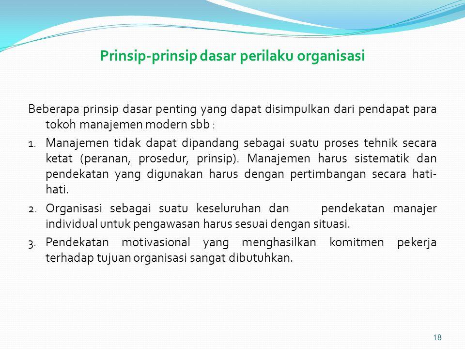 Prinsip-prinsip dasar perilaku organisasi