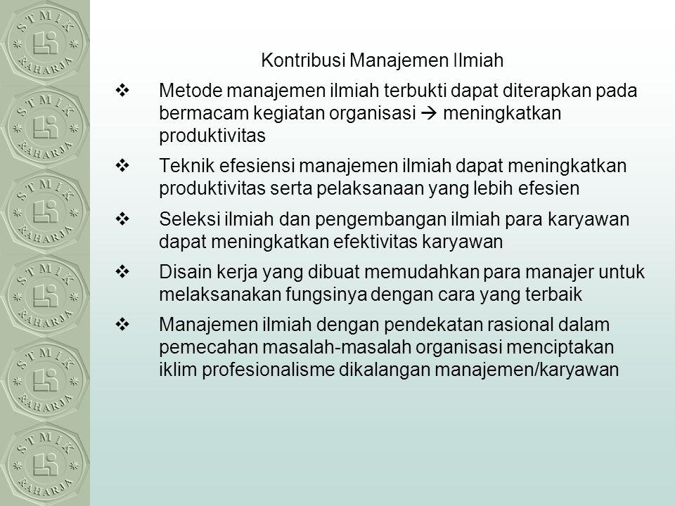 Kontribusi Manajemen Ilmiah