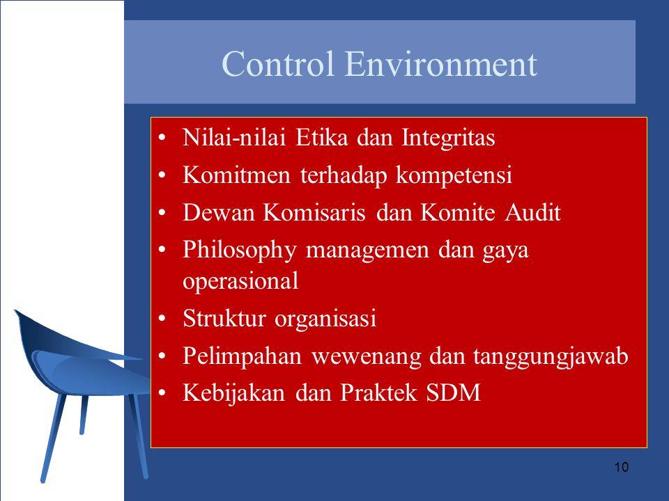 Control Environment Nilai-nilai Etika dan Integritas