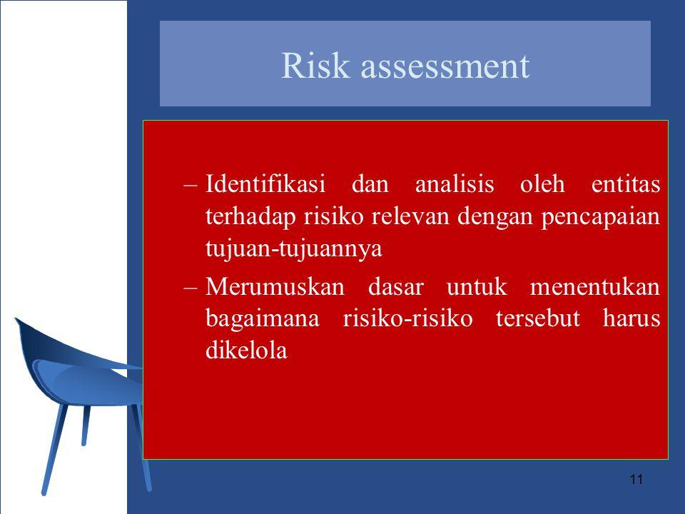 Risk assessment Identifikasi dan analisis oleh entitas terhadap risiko relevan dengan pencapaian tujuan-tujuannya.