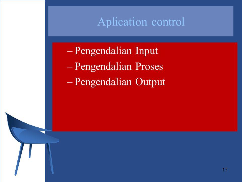 Aplication control Pengendalian Input Pengendalian Proses