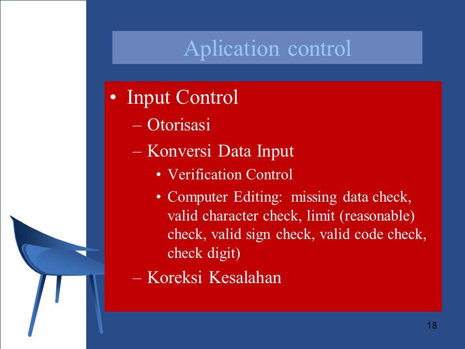 Aplication control Input Control Otorisasi Konversi Data Input