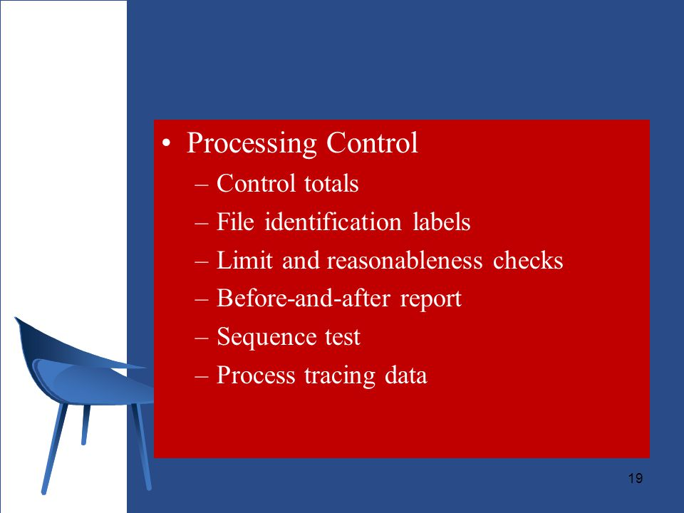Processing Control Control totals File identification labels