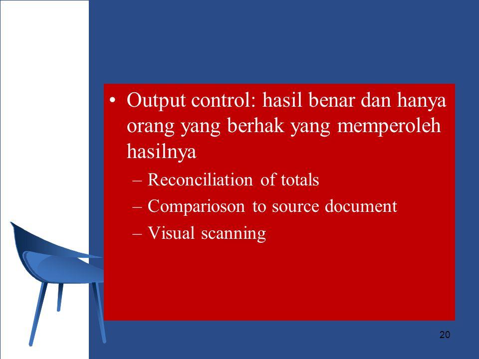 Output control: hasil benar dan hanya orang yang berhak yang memperoleh hasilnya