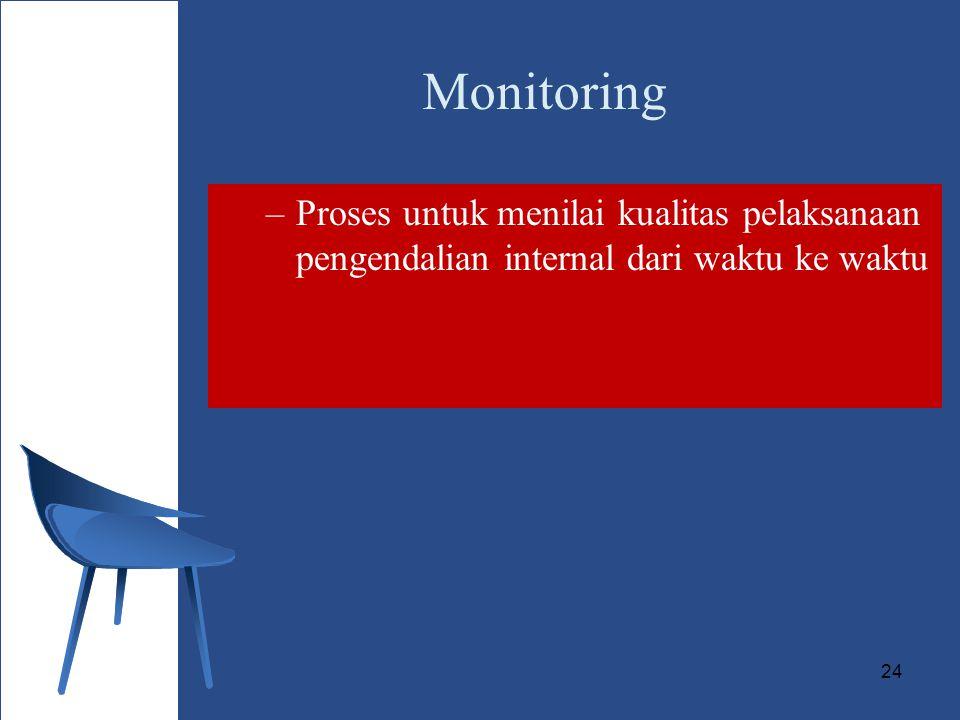 Monitoring Proses untuk menilai kualitas pelaksanaan pengendalian internal dari waktu ke waktu