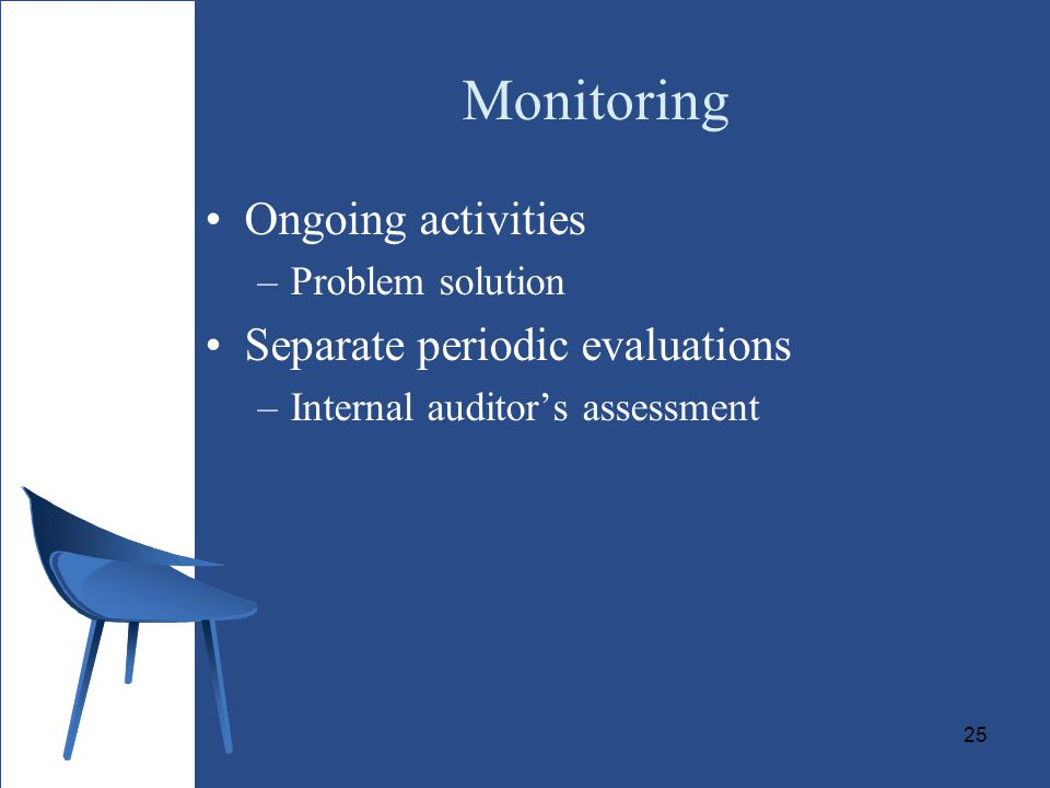 Monitoring Ongoing activities Separate periodic evaluations