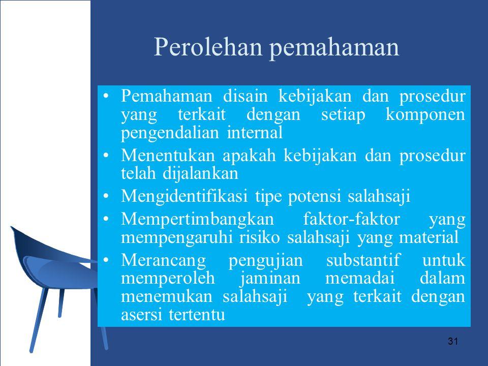 Perolehan pemahaman Pemahaman disain kebijakan dan prosedur yang terkait dengan setiap komponen pengendalian internal.