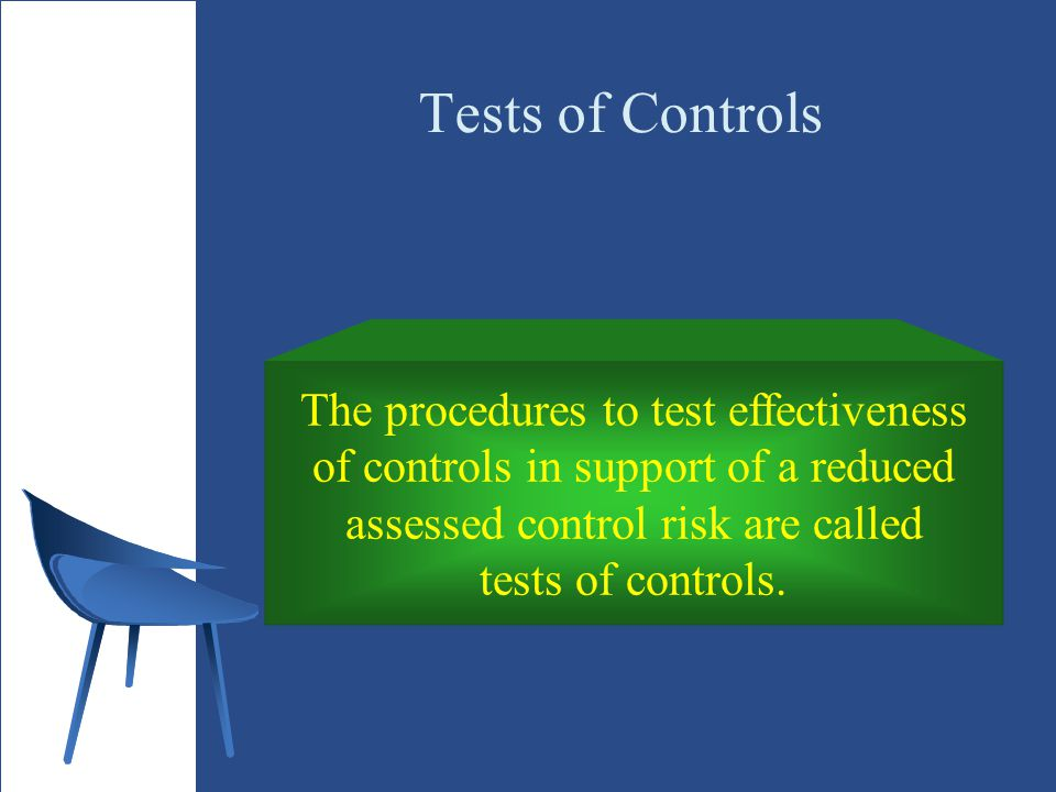 Tests of Controls The procedures to test effectiveness