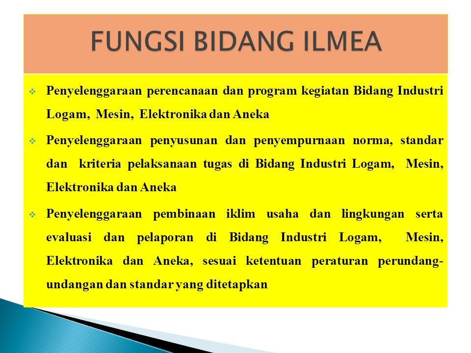 FUNGSI BIDANG ILMEA Penyelenggaraan perencanaan dan program kegiatan Bidang Industri Logam, Mesin, Elektronika dan Aneka.