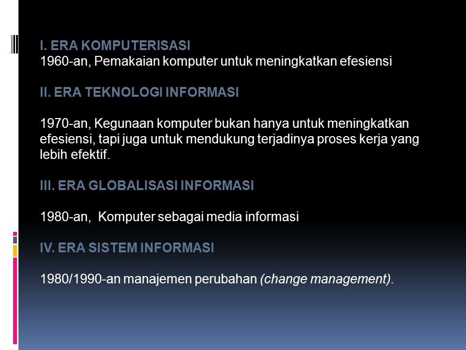 I. ERA KOMPUTERISASI 1960-an, Pemakaian komputer untuk meningkatkan efesiensi. II. ERA TEKNOLOGI INFORMASI.