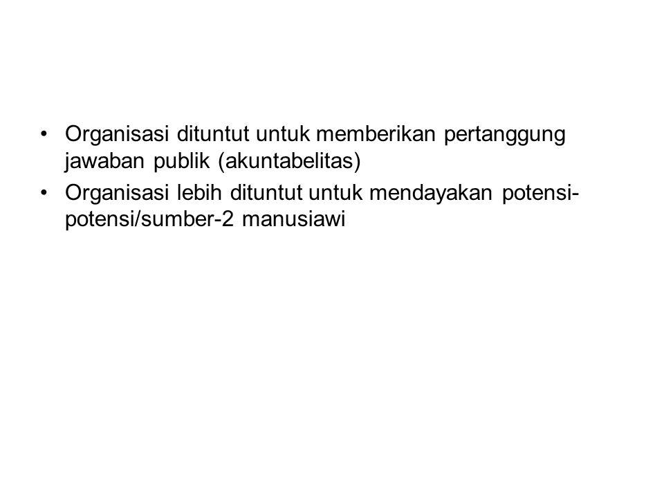 Organisasi dituntut untuk memberikan pertanggung jawaban publik (akuntabelitas)
