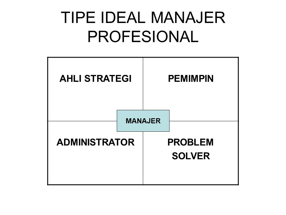 TIPE IDEAL MANAJER PROFESIONAL