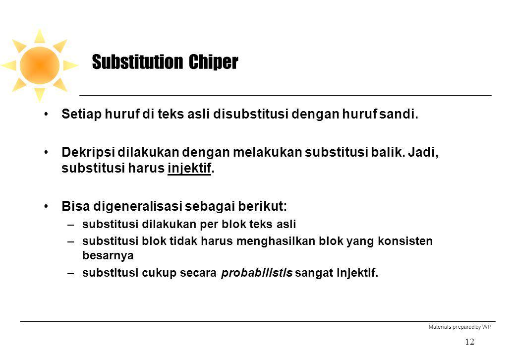 Substitution Chiper Setiap huruf di teks asli disubstitusi dengan huruf sandi.