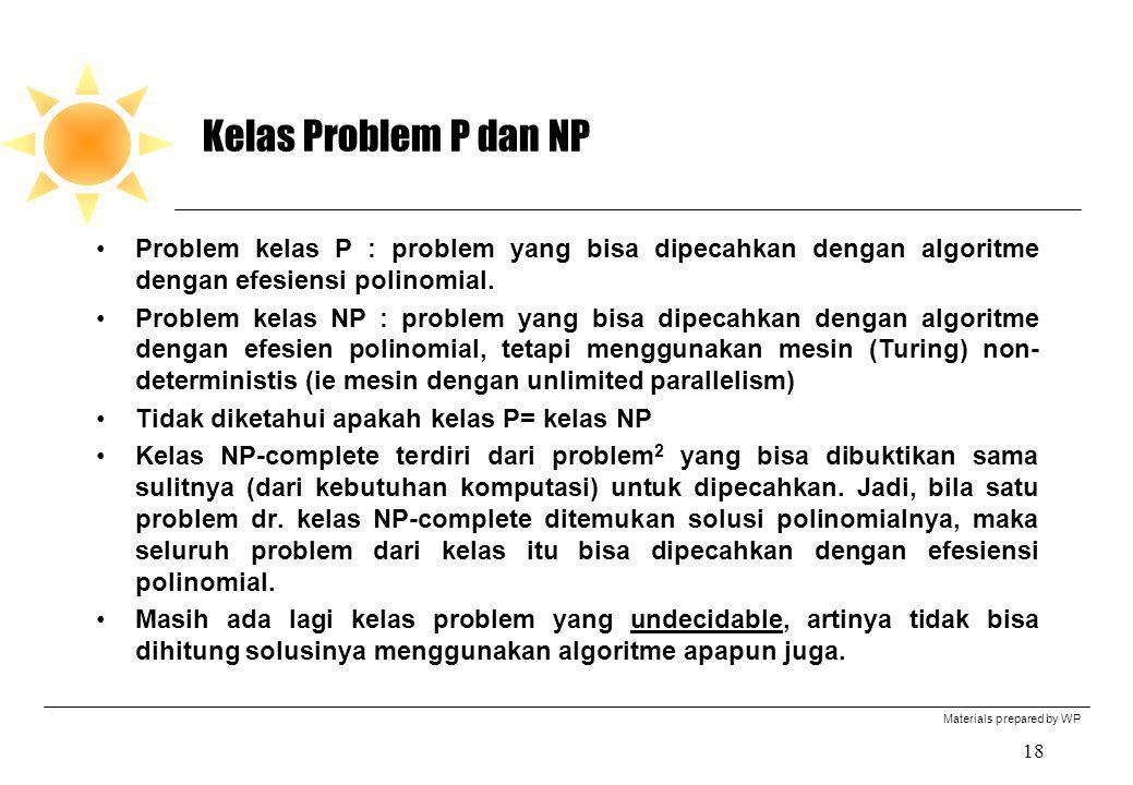 Kelas Problem P dan NP Problem kelas P : problem yang bisa dipecahkan dengan algoritme dengan efesiensi polinomial.