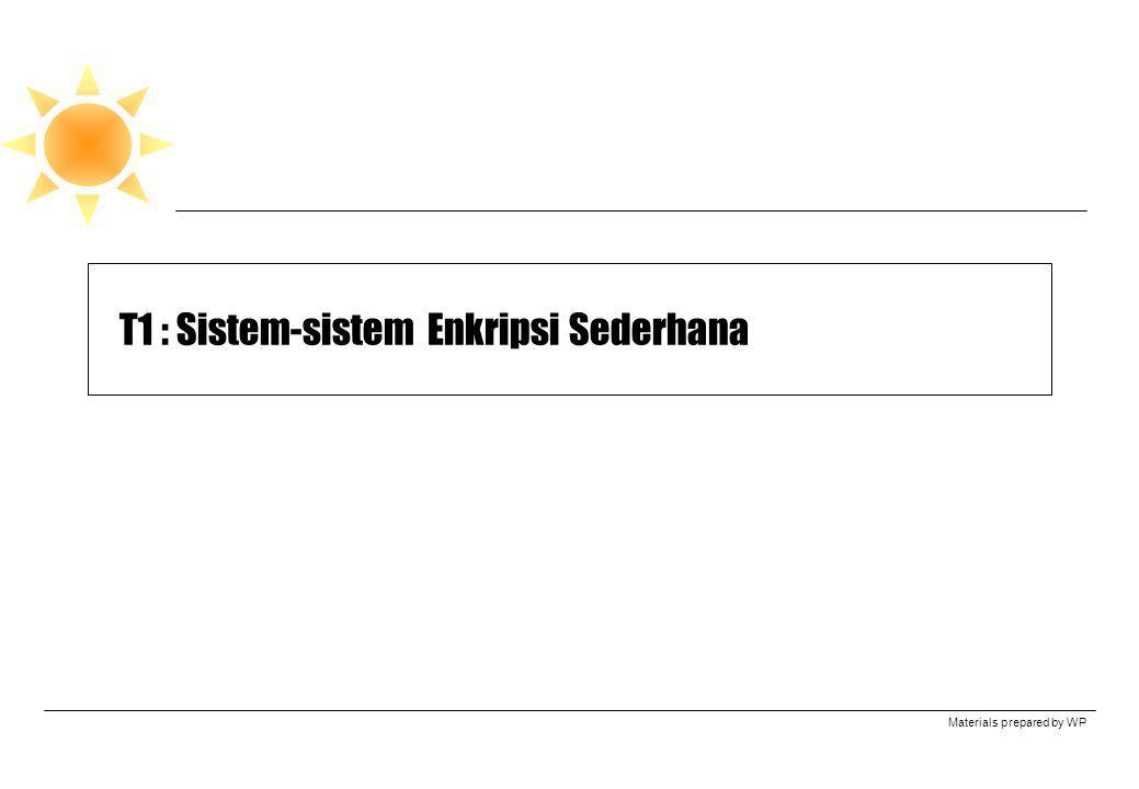 T1 : Sistem-sistem Enkripsi Sederhana
