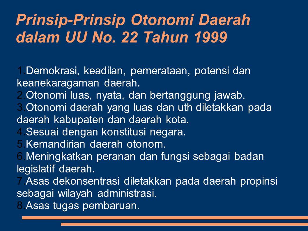 Prinsip-Prinsip Otonomi Daerah dalam UU No. 22 Tahun 1999