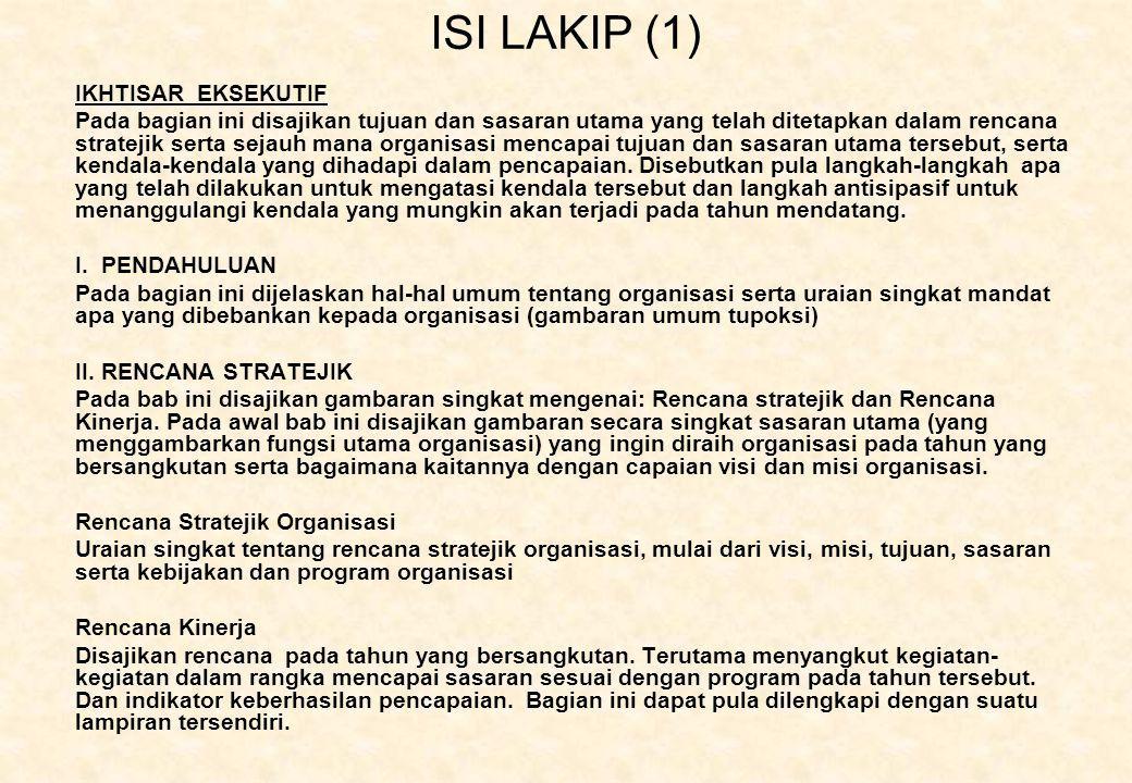 ISI LAKIP (1) IKHTISAR EKSEKUTIF