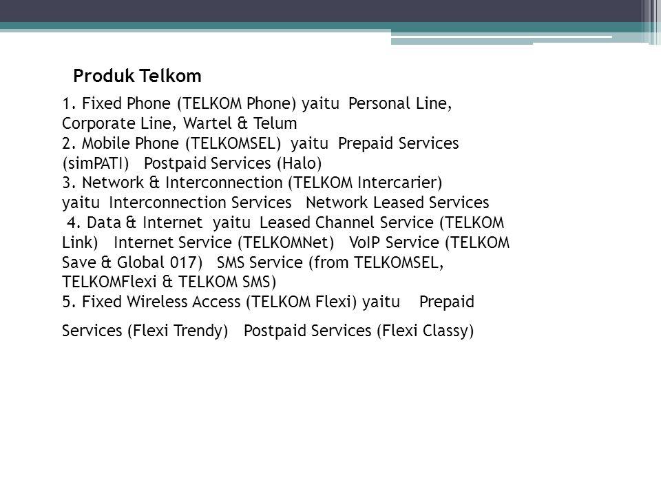 Produk Telkom 1. Fixed Phone (TELKOM Phone) yaitu Personal Line, Corporate Line, Wartel & Telum