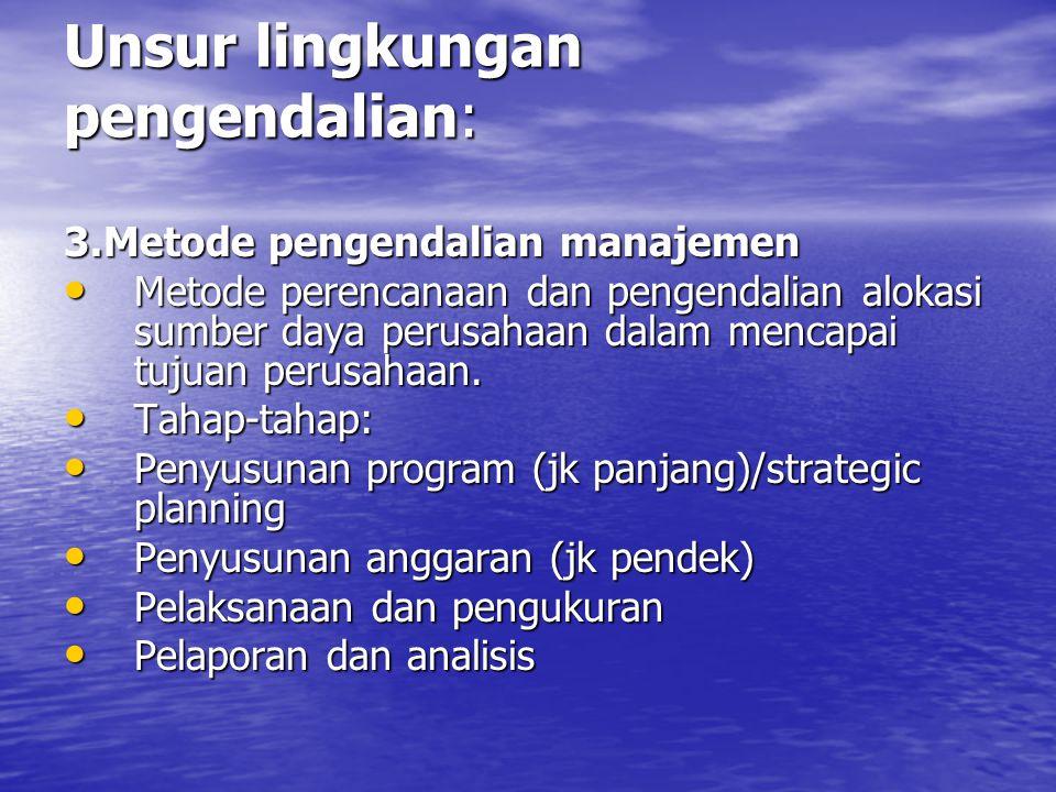 Unsur lingkungan pengendalian: