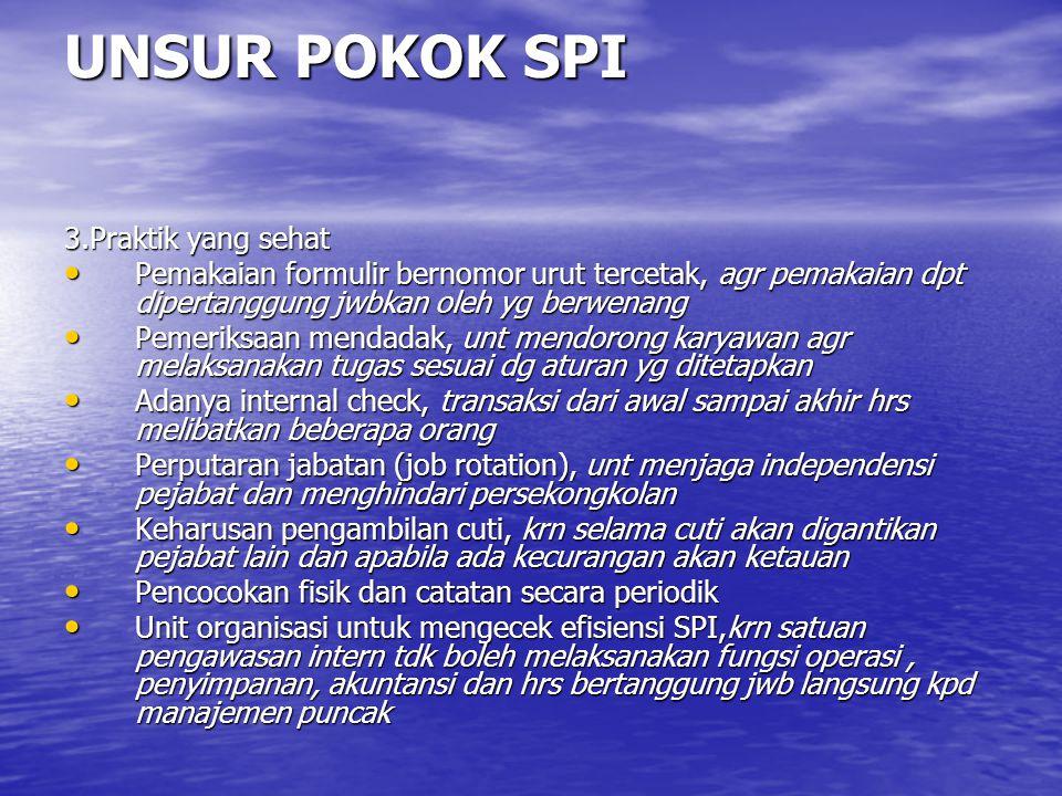UNSUR POKOK SPI 3.Praktik yang sehat