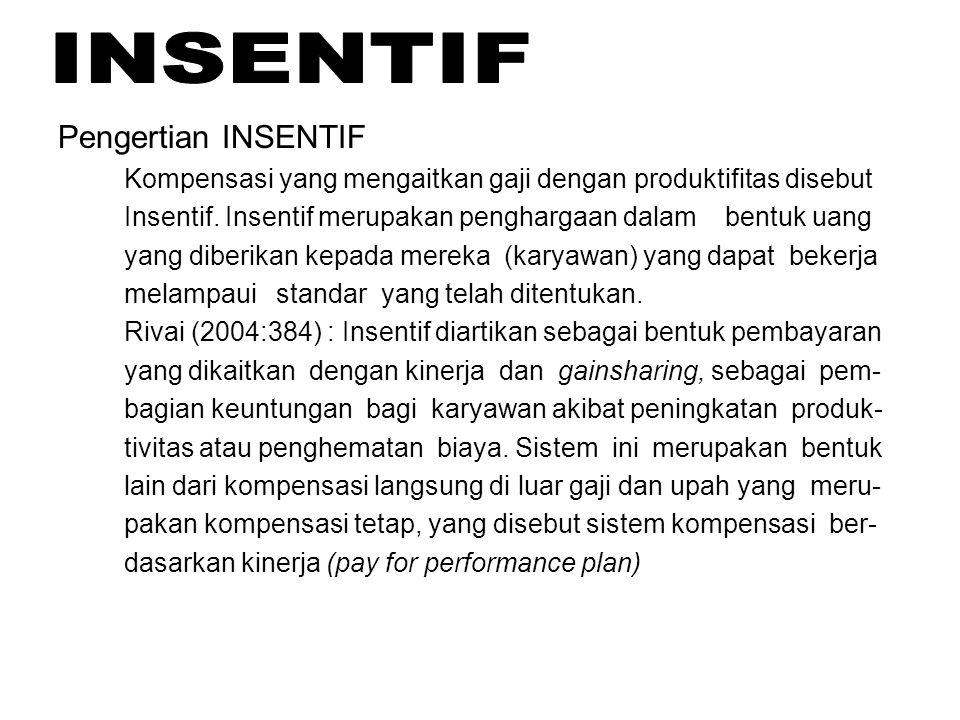 Pengertian INSENTIF Kompensasi yang mengaitkan gaji dengan produktifitas disebut. Insentif. Insentif merupakan penghargaan dalam bentuk uang.