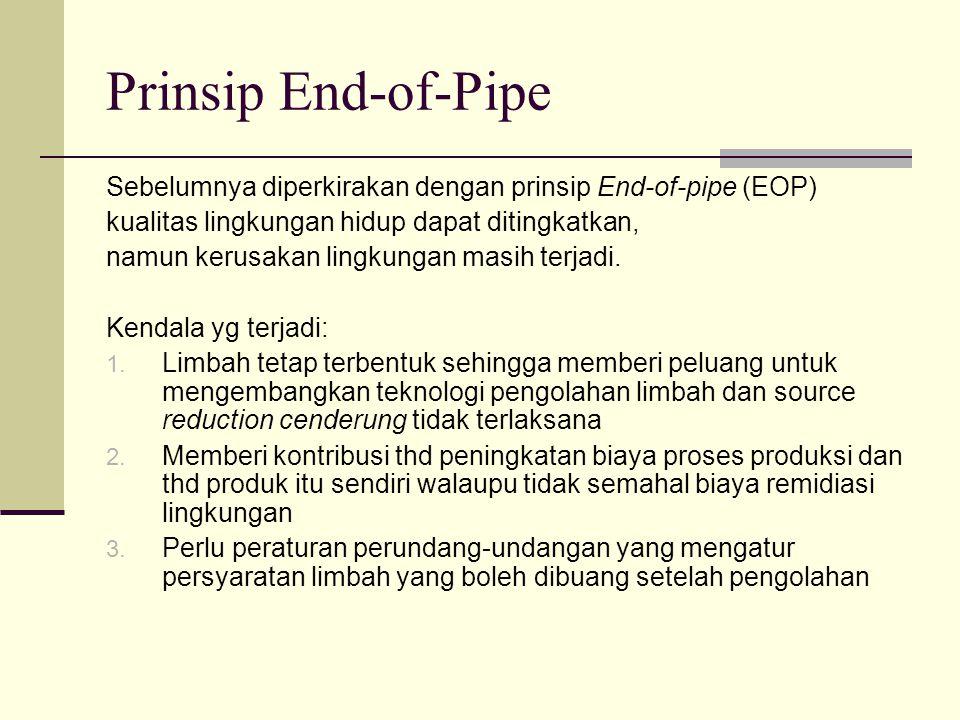 Prinsip End-of-Pipe Sebelumnya diperkirakan dengan prinsip End-of-pipe (EOP) kualitas lingkungan hidup dapat ditingkatkan,
