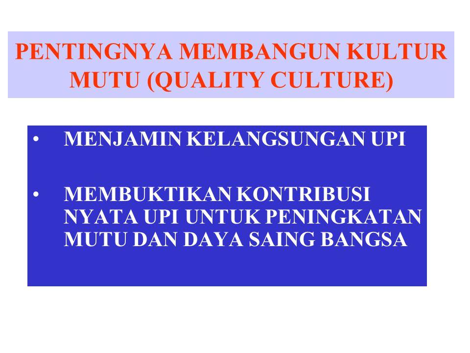 PENTINGNYA MEMBANGUN KULTUR MUTU (QUALITY CULTURE)