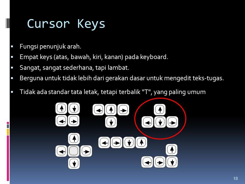 Cursor Keys Fungsi penunjuk arah.