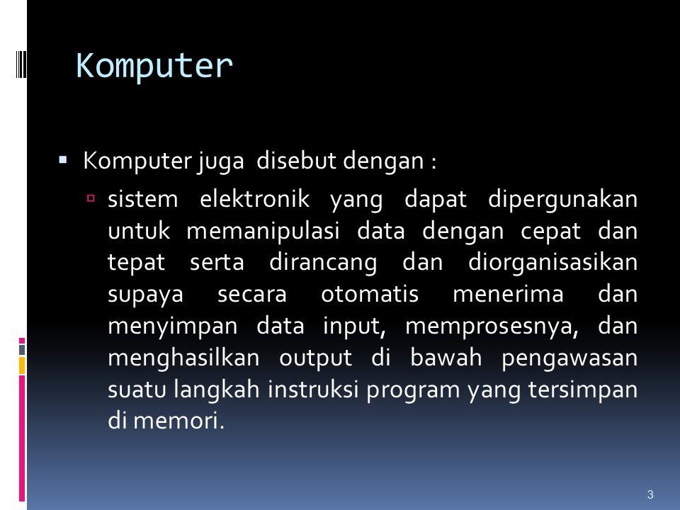 Komputer Komputer juga disebut dengan :