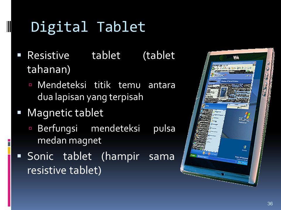 Digital Tablet Resistive tablet (tablet tahanan) Magnetic tablet