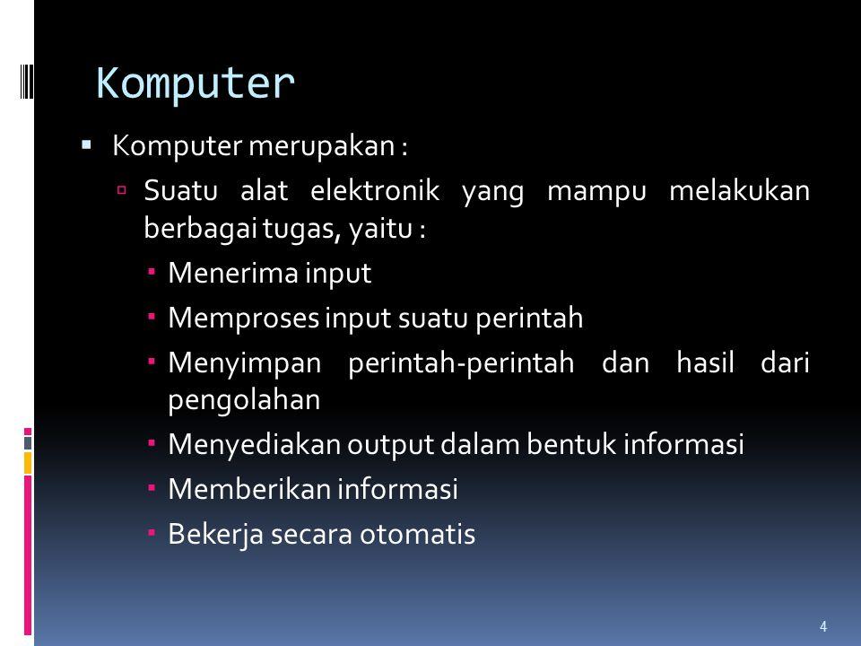 Komputer Komputer merupakan :