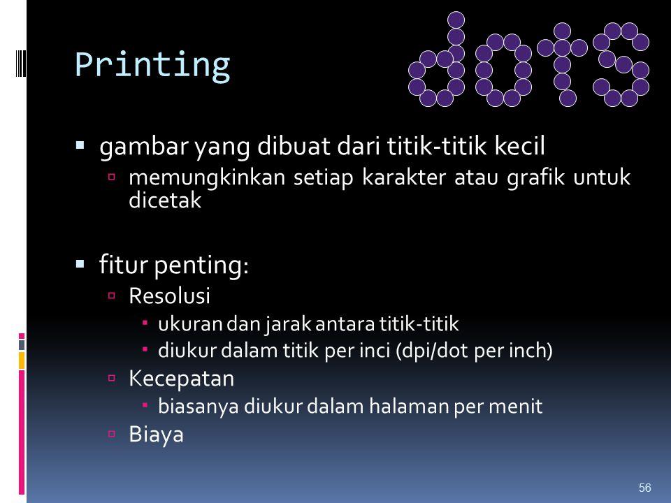 Printing gambar yang dibuat dari titik-titik kecil fitur penting: