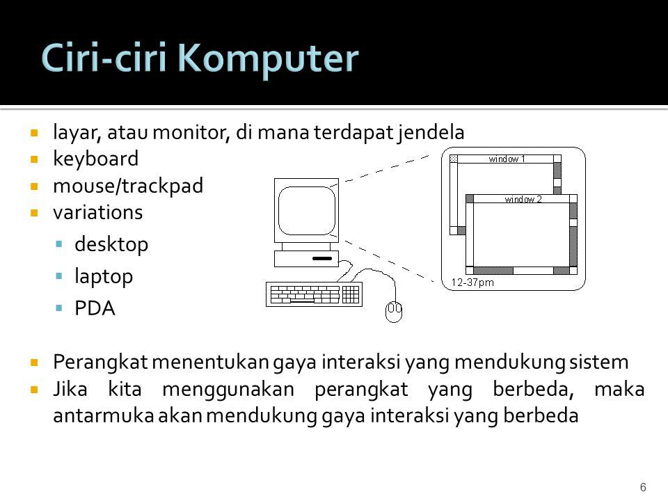 Ciri-ciri Komputer layar, atau monitor, di mana terdapat jendela