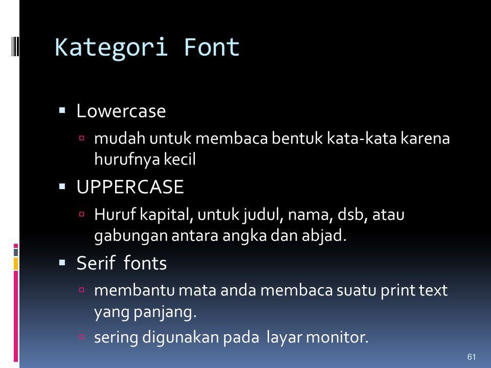 Kategori Font Lowercase UPPERCASE Serif fonts