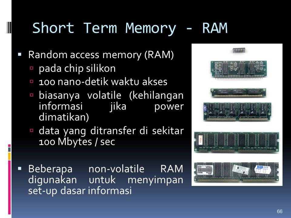 Short Term Memory - RAM Random access memory (RAM) pada chip silikon