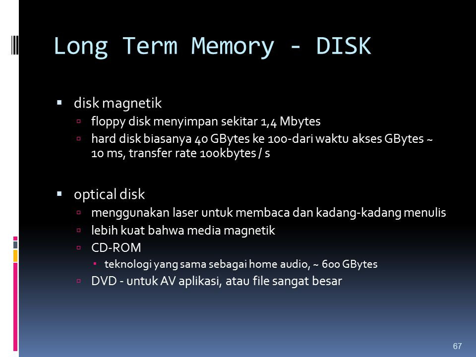 Long Term Memory - DISK disk magnetik optical disk