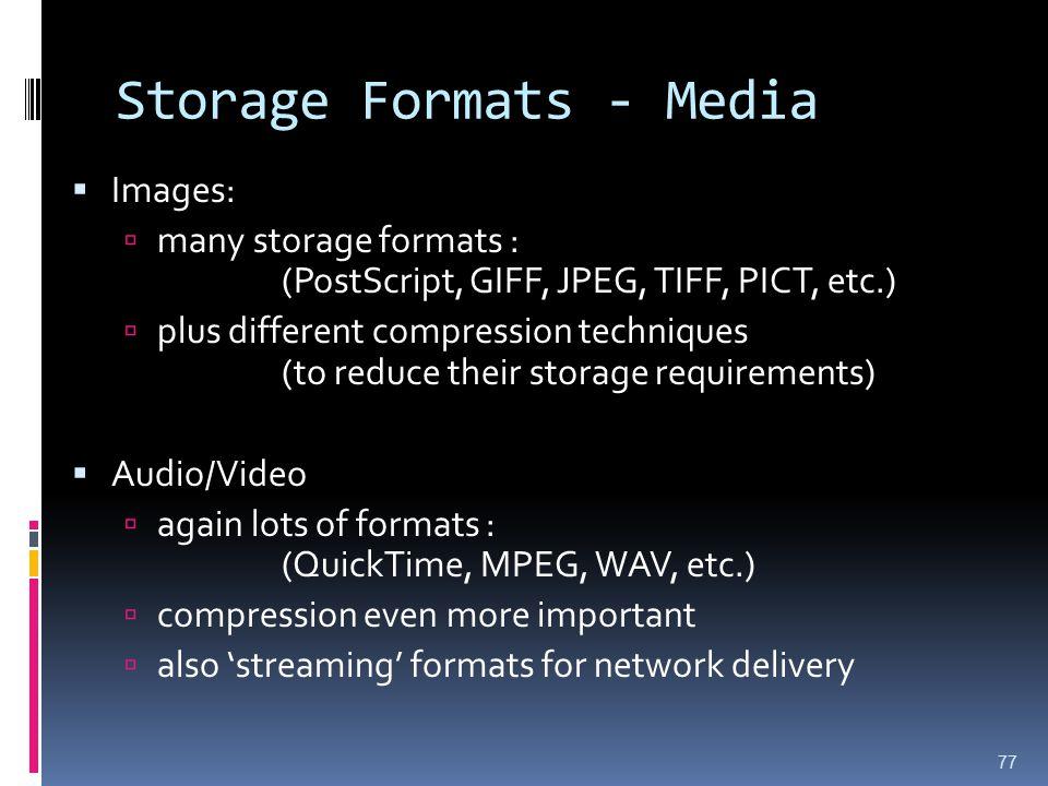 Storage Formats - Media