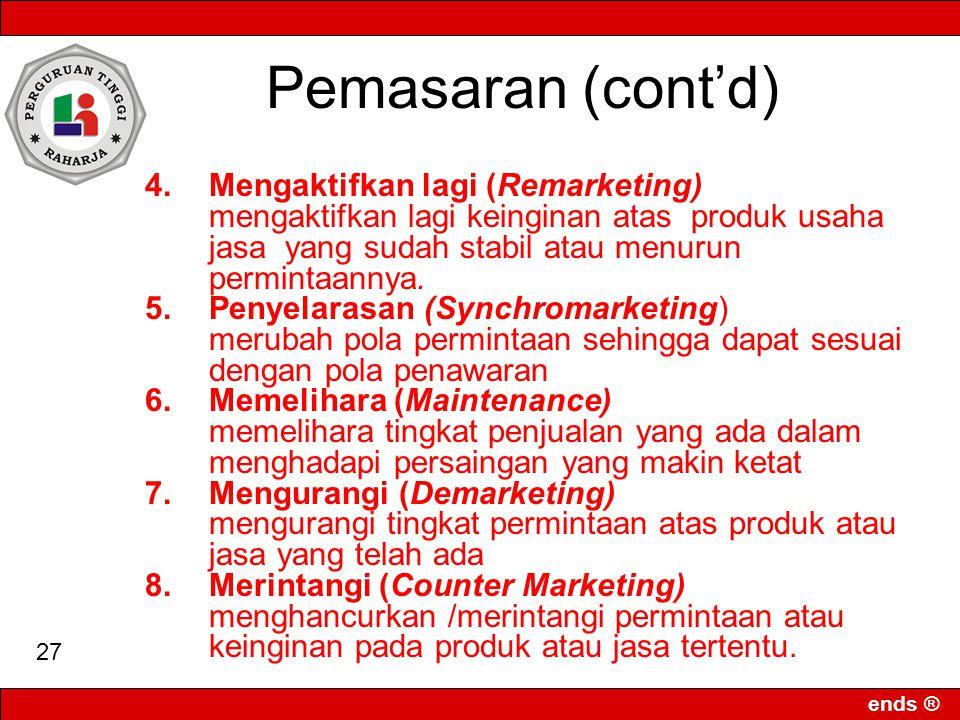 Pemasaran (cont'd) 4. Mengaktifkan lagi (Remarketing)