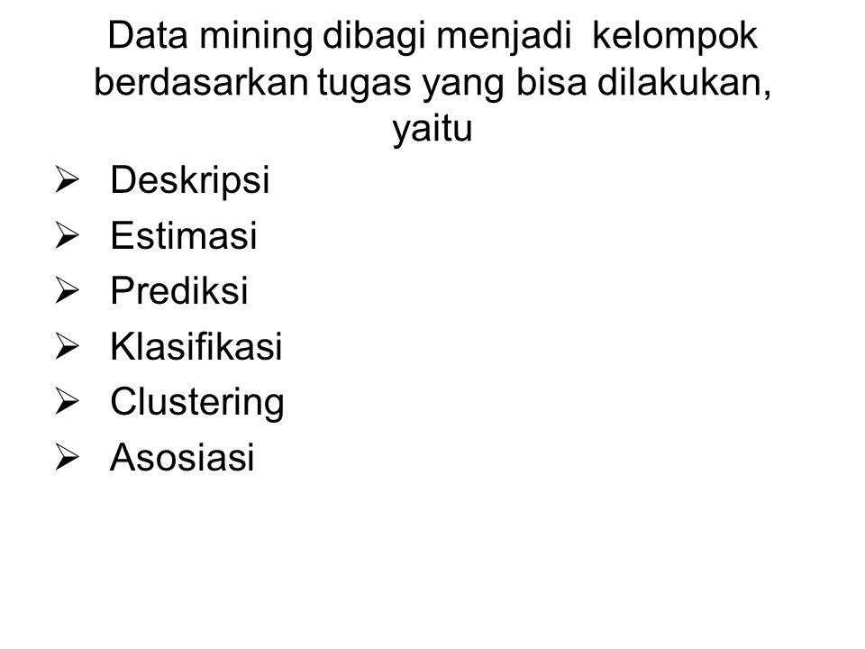 Data mining dibagi menjadi kelompok berdasarkan tugas yang bisa dilakukan, yaitu