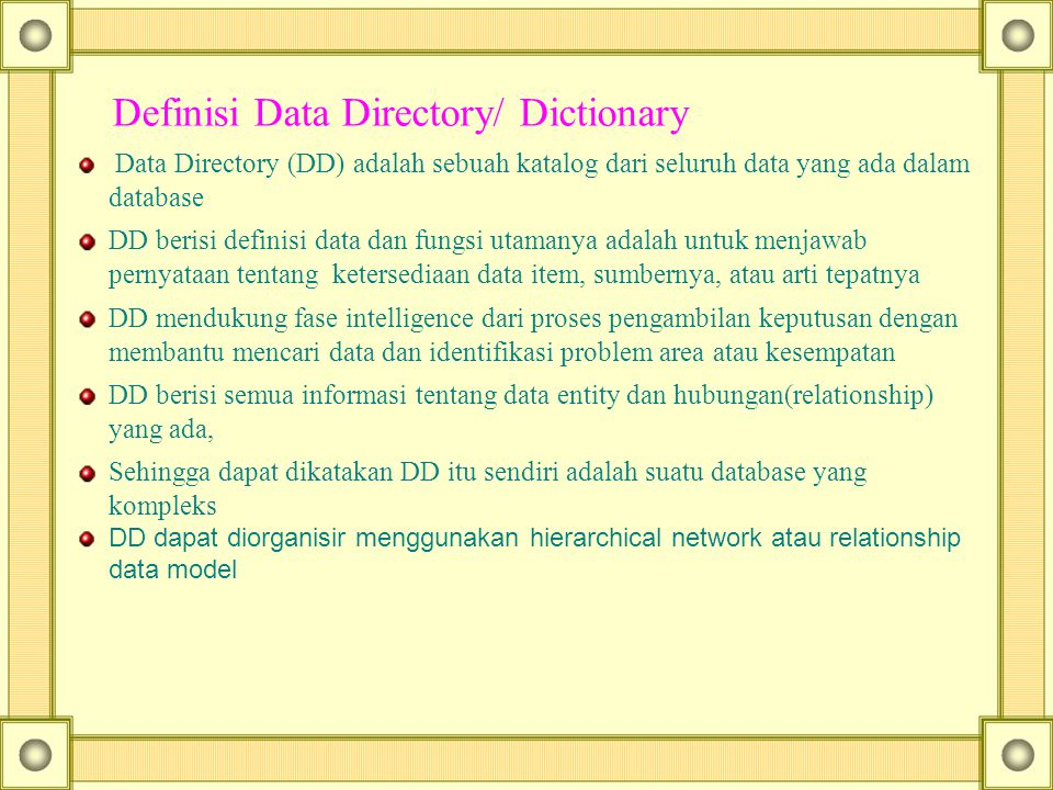 Definisi Data Directory/ Dictionary