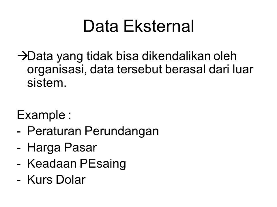 Data Eksternal Data yang tidak bisa dikendalikan oleh organisasi, data tersebut berasal dari luar sistem.