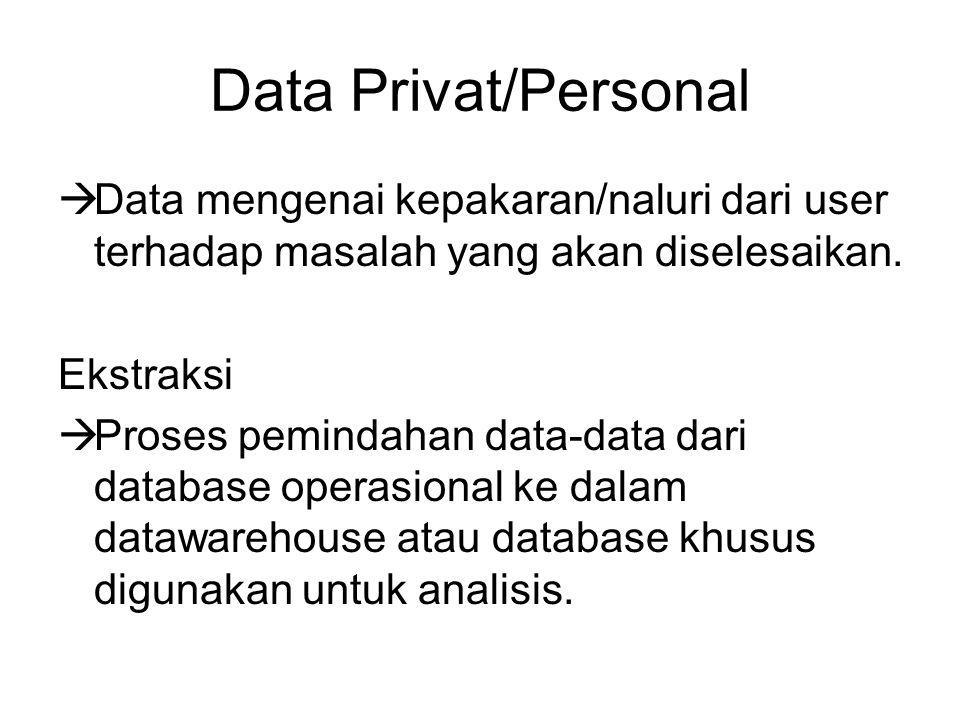 Data Privat/Personal Data mengenai kepakaran/naluri dari user terhadap masalah yang akan diselesaikan.