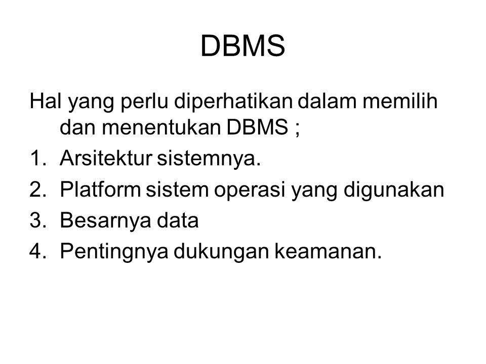 DBMS Hal yang perlu diperhatikan dalam memilih dan menentukan DBMS ;