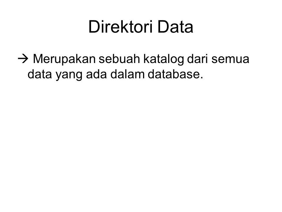 Direktori Data  Merupakan sebuah katalog dari semua data yang ada dalam database.