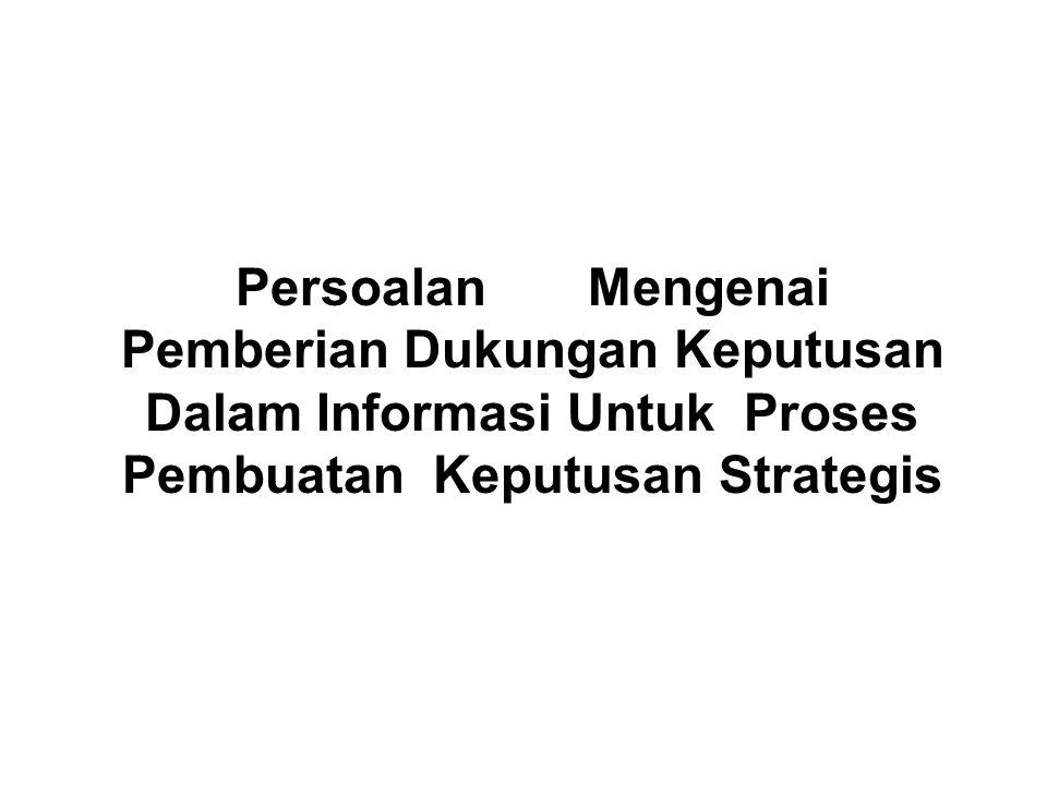 Persoalan Mengenai Pemberian Dukungan Keputusan Dalam Informasi Untuk Proses Pembuatan Keputusan Strategis