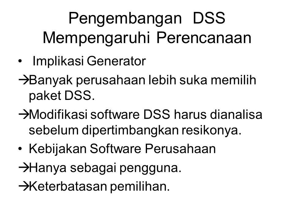 Pengembangan DSS Mempengaruhi Perencanaan