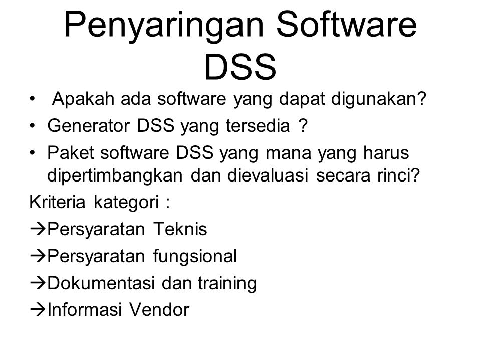 Penyaringan Software DSS